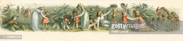 Fantasy Illustration of Fairies Dressing Baby Elves