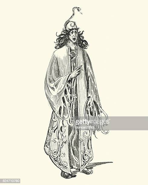 fantasy - snake sorcerer - wizard stock illustrations, clip art, cartoons, & icons