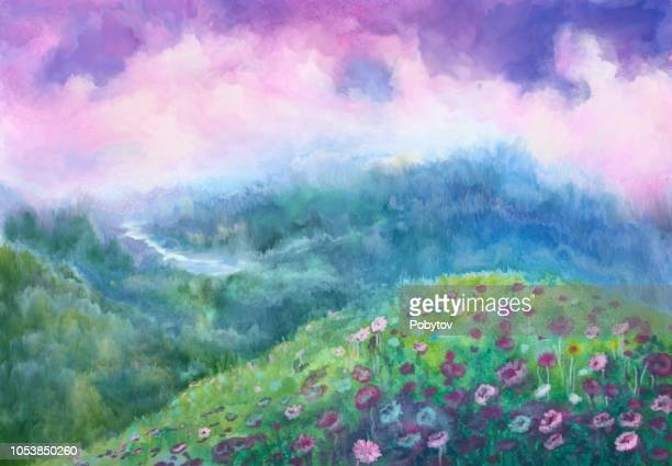 ilustrações, clipart, desenhos animados e ícones de aquarela paisagem fantasia - flowerbed