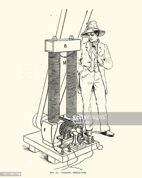 faradic generator, 19th century - michael faraday stock illustrations, clip art, cartoons, & icons