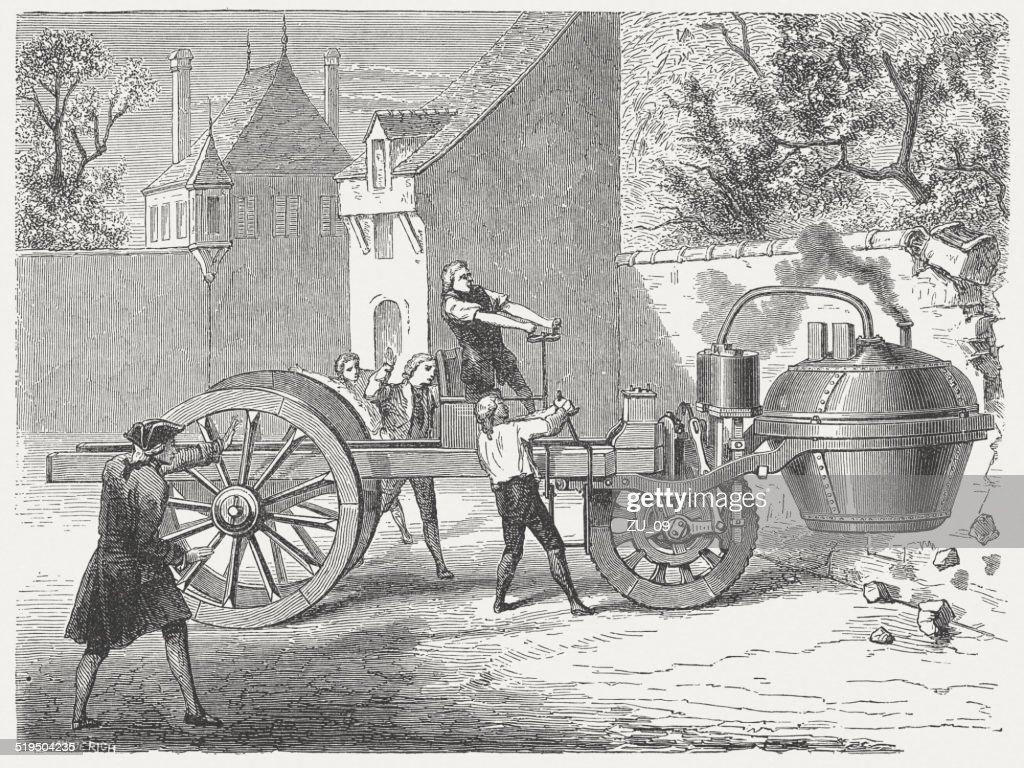 "Fardier a vapeur (""Steam dray"", 1769), by Nicolas-Joseph Cugnot : Stock Illustration"