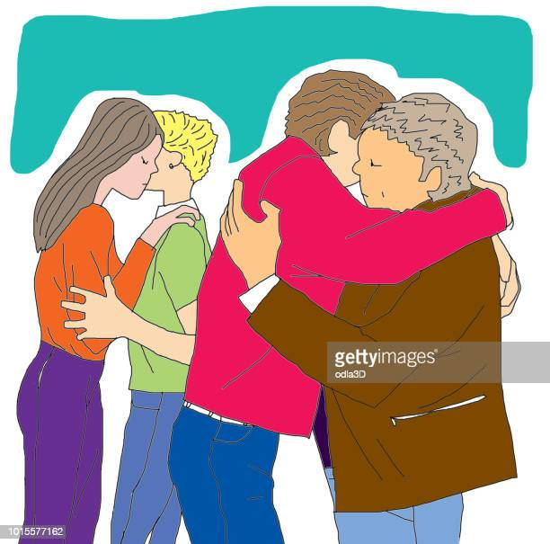 Farewell hug of two couples