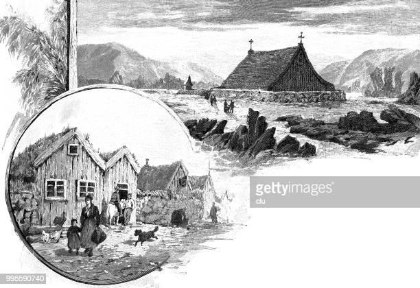 Farm and church on iceland