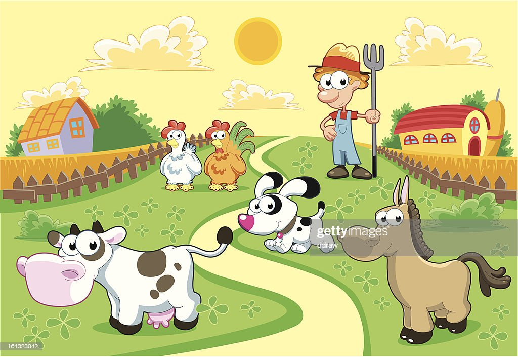 Farm Family with background.