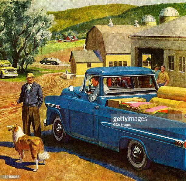 Farm Scene With Blue Vintage Truck