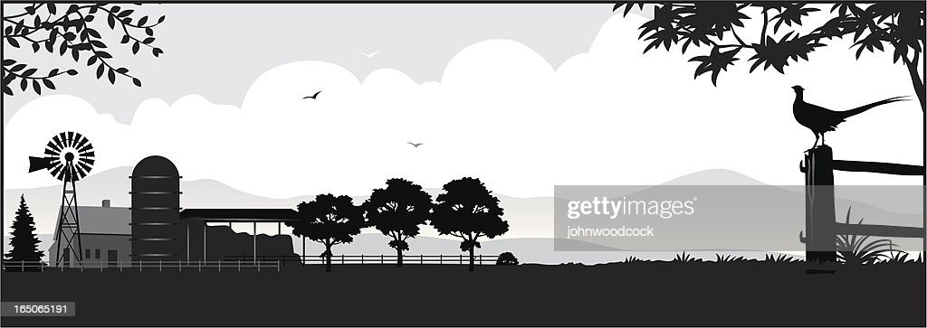 Farm silhouette : Stock Illustration
