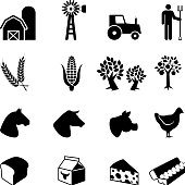 Farmer at work black and white vector icon set