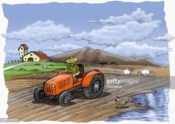 Farmer on a tractor in a partially flooded field
