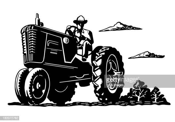 farmer on tractor - tractor stock illustrations