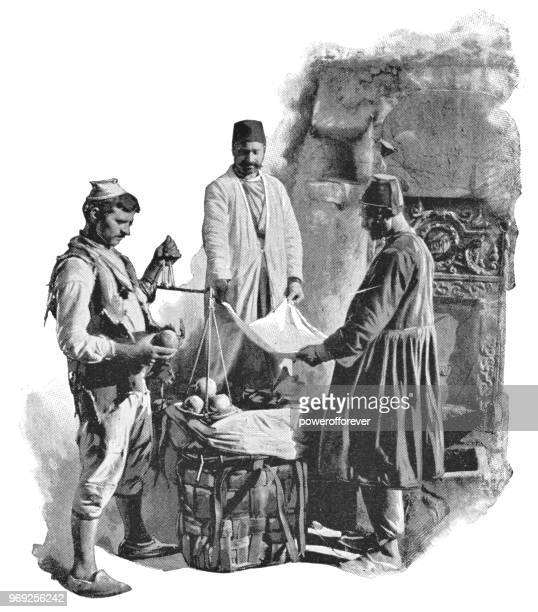 farmer selling fruit to customers in istanbul, turkey - 19th century - ottoman empire stock illustrations