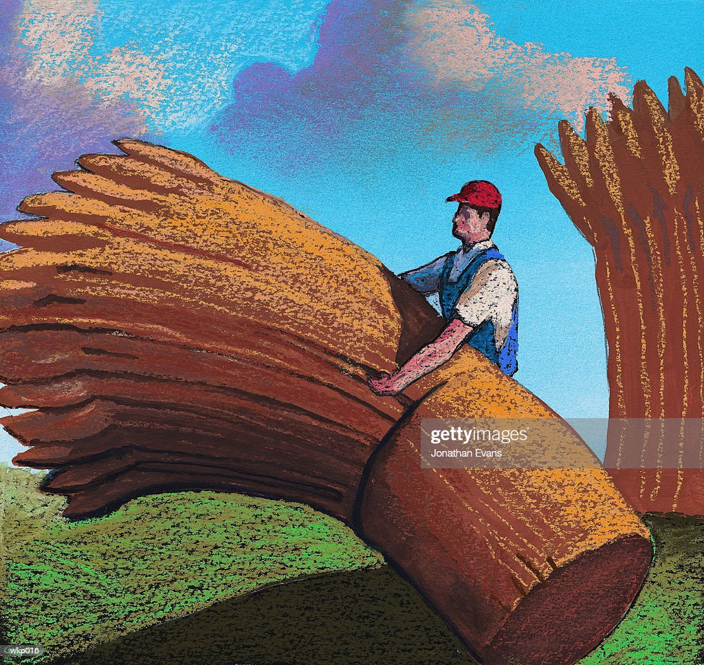 Farmer with Wheat : Stock Illustration