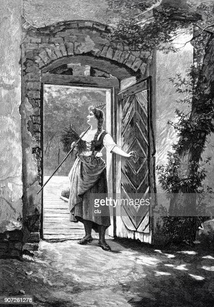 farmer woman leaving the house at early morning - raking leaves stock illustrations, clip art, cartoons, & icons