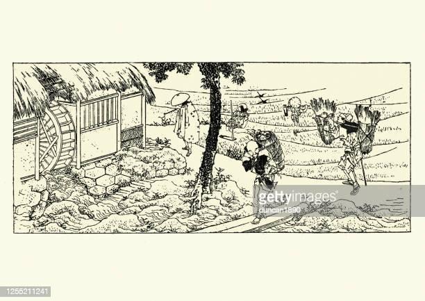 畑および水工場の農夫労働者、日本、19世紀 - 伝統点のイラスト素材/クリップアート素材/マンガ素材/アイコン素材