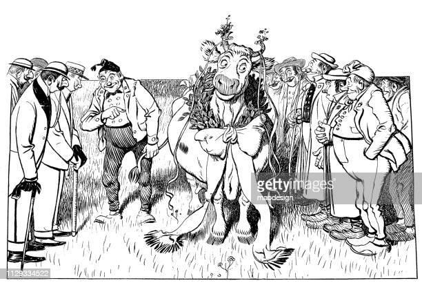 Farmers celebrate a winning cow - 1896