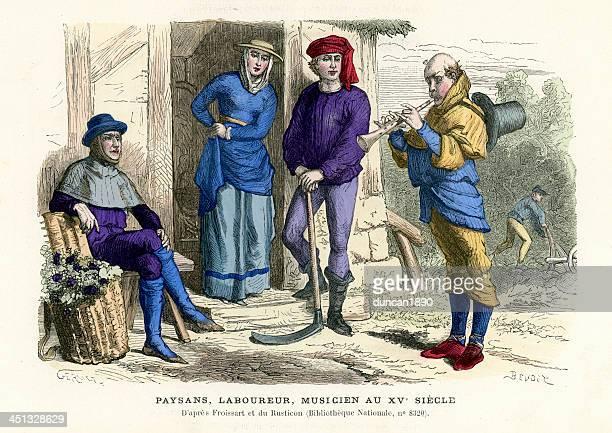Farmers, labourer, musician in 15th century