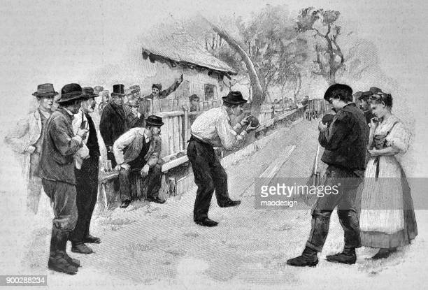farmers play ball throwing  - 1896 - country road stock illustrations