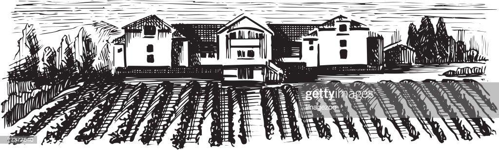 farmland b&w : Illustration