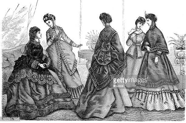 fashion clothes and hairstyle models from the 1800s - en búsqueda stock illustrations
