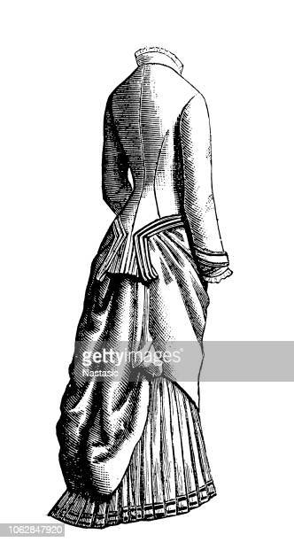 fashion dress from 19th century - en búsqueda stock illustrations