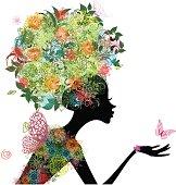 Fashion girl with hair arabesque