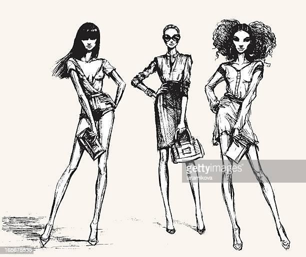 ilustraciones, imágenes clip art, dibujos animados e iconos de stock de de moda - modelo de modas