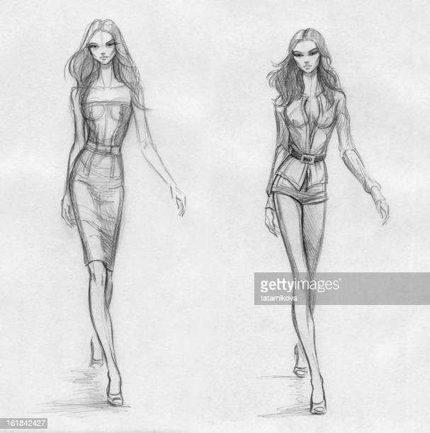 ilustraciones, imágenes clip art, dibujos animados e iconos de stock de moda modelos (blanco y negro - modelo de modas
