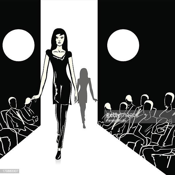 fashion models walking on the ramp - elevated walkway stock illustrations