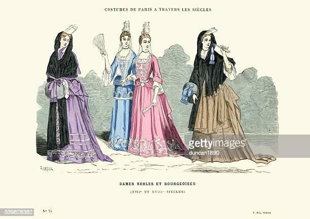 illustrazioni stock, clip art, cartoni animati e icone di tendenza di moda-noble onorevoli e bourgeoises, francia del xviii secolo - xvii° secolo