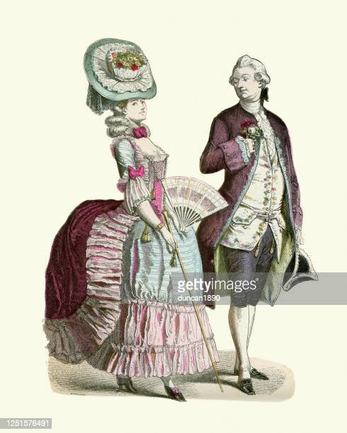 fashion of a french couple late 18th century, period costume - 18th century stock illustrations