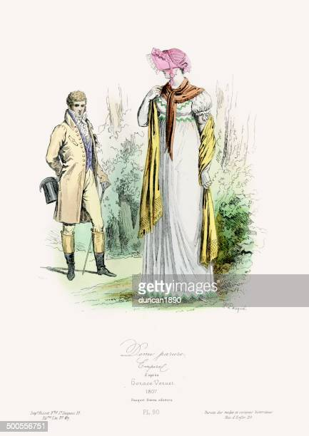 fashion of the early 19th century - flirting stock illustrations, clip art, cartoons, & icons