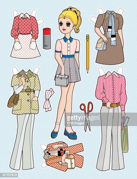 fashion plate - 紙人形点のイラスト素材/クリップアート素材/マンガ素材/アイコン素材