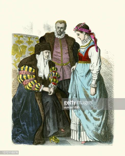 ファッション、ポーランド貴族、コートドレス、16世紀 - 16世紀のスタイル点のイラスト素材/クリップアート素材/マンガ素材/アイコン素材