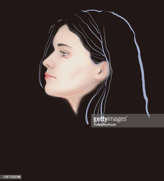 fashion portrait of a girl close-up in profile - one teenage girl only stock illustrations
