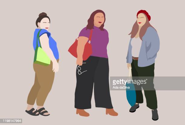 fashion portrait of plus-sized girls. - female friendship stock illustrations