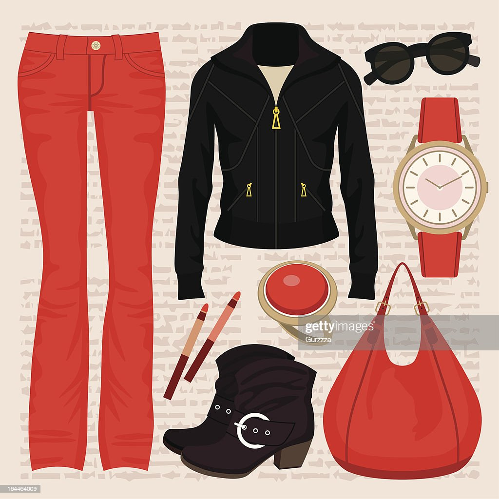 Fashion set with jeans and a jacket. vector