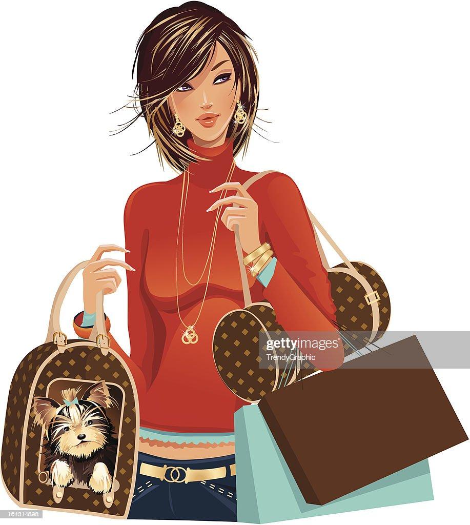 Fashion woman shopping with Yorkie dog