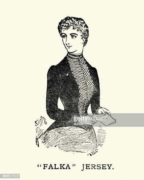 1884 年、19 世紀の falka ジャージーを着た若い女性のファッション - ジャージ素材点のイラスト素材/クリップアート素材/マンガ素材/アイコン素材