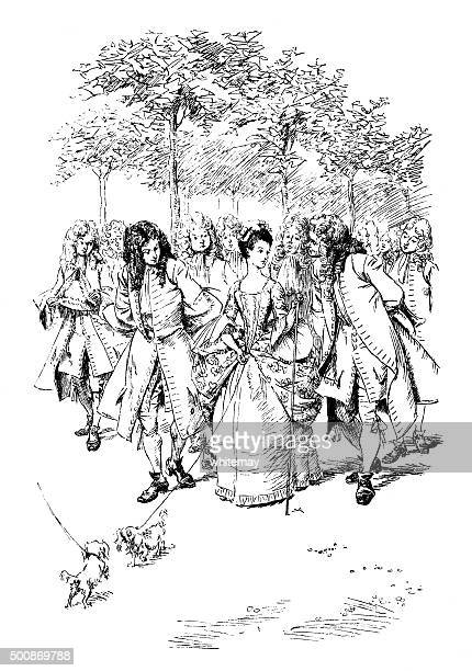 Fashionable 18th century people walking in the park