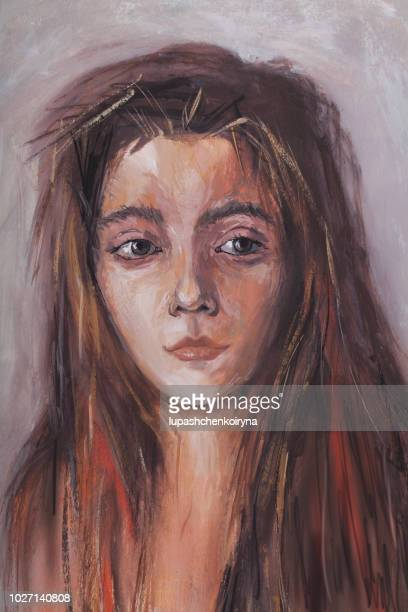 fashionable artwork illustration original author's modern oil painting on canvas artist portrait of a young beautiful girl with dark long hair - artistic product stock illustrations