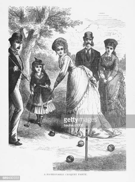 fashionable croquet party victorian engraving, 1879 - match sport stock illustrations, clip art, cartoons, & icons
