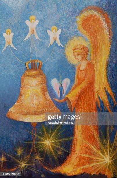 ファッショナブルなイースターイラストの神聖なる芸術の現代美術私のオリジナル油絵キャンバス宗教祈り信仰正統垂直アイコン守護天使は命を守り、人を善行に導く