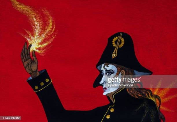 Fashionable illustration allegory modern artwork Carnival my original oil painting on canvas Impressionism symbolic horizontal portrait of a male actor with long dark hair in makeup and theatrical carnival white Harlequin mask in a stage costume in a blac