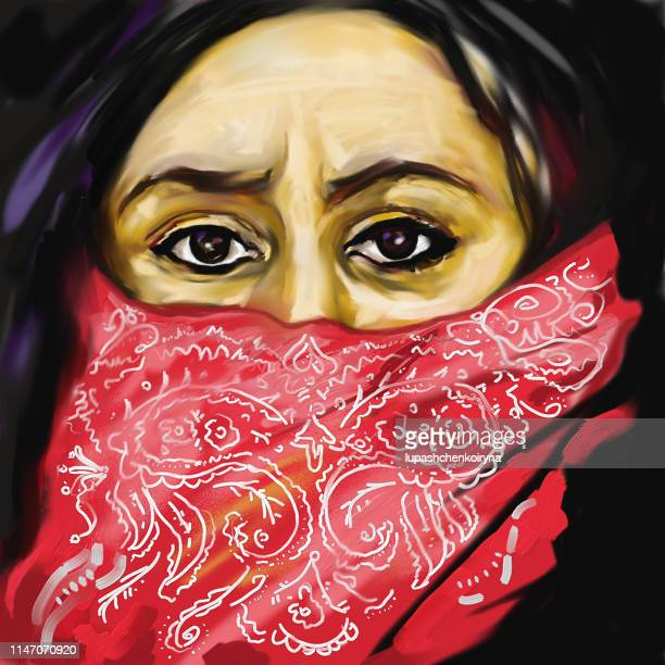 Fashionable illustration allegory modern work of art my original oil painting impressionism portrait face of a middle-aged woman of the east Arab countries with a closed red with an embroidery chador face expressive look black eyes and long black with gra
