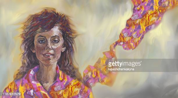 fashionable illustration allegory oil painting on canvas impressionism horizontal portrait of the emotions of a smiling beautiful joyful girl with long dark long hair in a bright neckerchief in the wind against a light gray sky - one teenage girl only stock illustrations