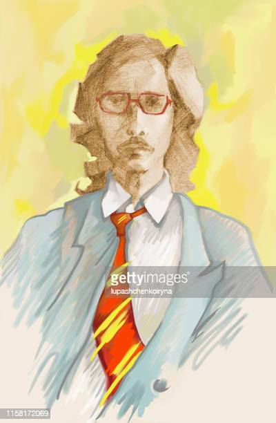Fashionable illustration allegory wind modern artwork impressionism my color drawing  on paper vertical portrait figure of a young man in suit and tie with long hair in glasses