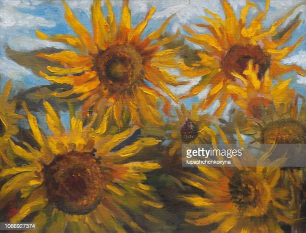 Fashionable illustration artwork my original oil painting on canvas summer landscape blooming sunflowers