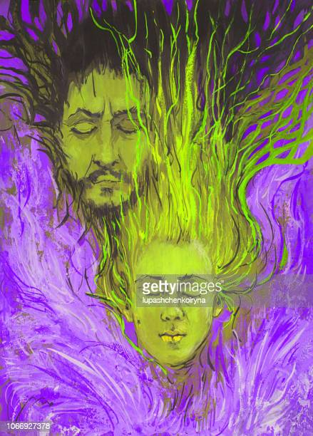 Fashionable illustration artwork my original painting pair portrait of a woman and a man with long hair and white wings flying in the clouds