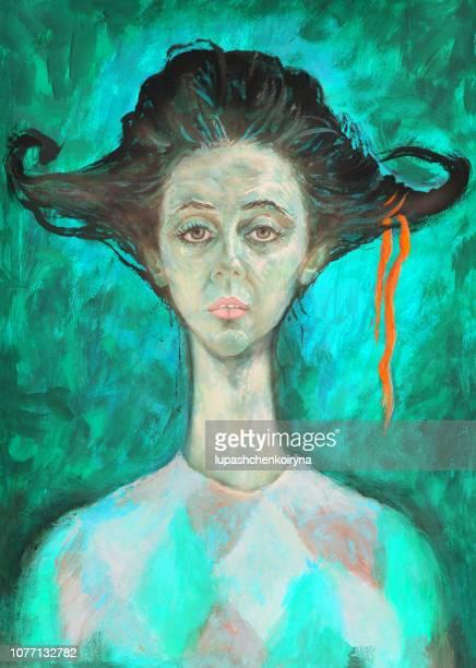 illustrations, cliparts, dessins animés et icônes de l'art moderne à la mode illustration travailler mon original peinture à l'huile sur toile portrait figuratif d'un acrobate d'actrice jeune cirque - arlequin