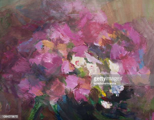 fashionable illustration modern art work my original oil painting on canvas flowers summer abstract horizontal still life blooming phloxes - alternative therapy stock illustrations, clip art, cartoons, & icons