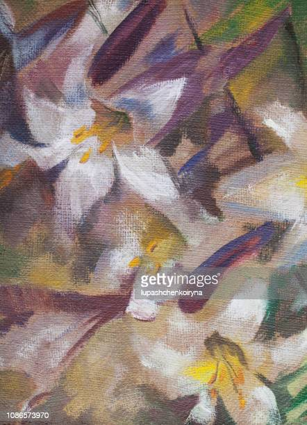 Fashionable illustration modern art work my original oil painting on canvas summer landscape blooming white lilies in a flower bed in the glare of sunlight